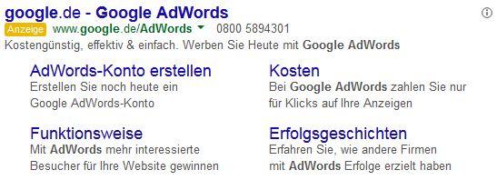 Google AdWords/Google Ads Sitelink Erweiterungen