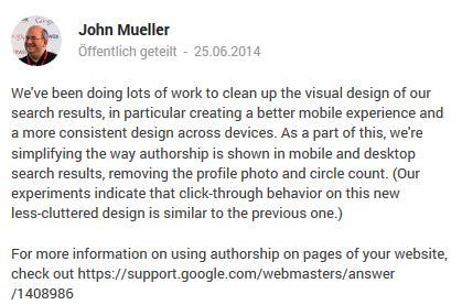 Google Plus Autorenbilder werden entfernt