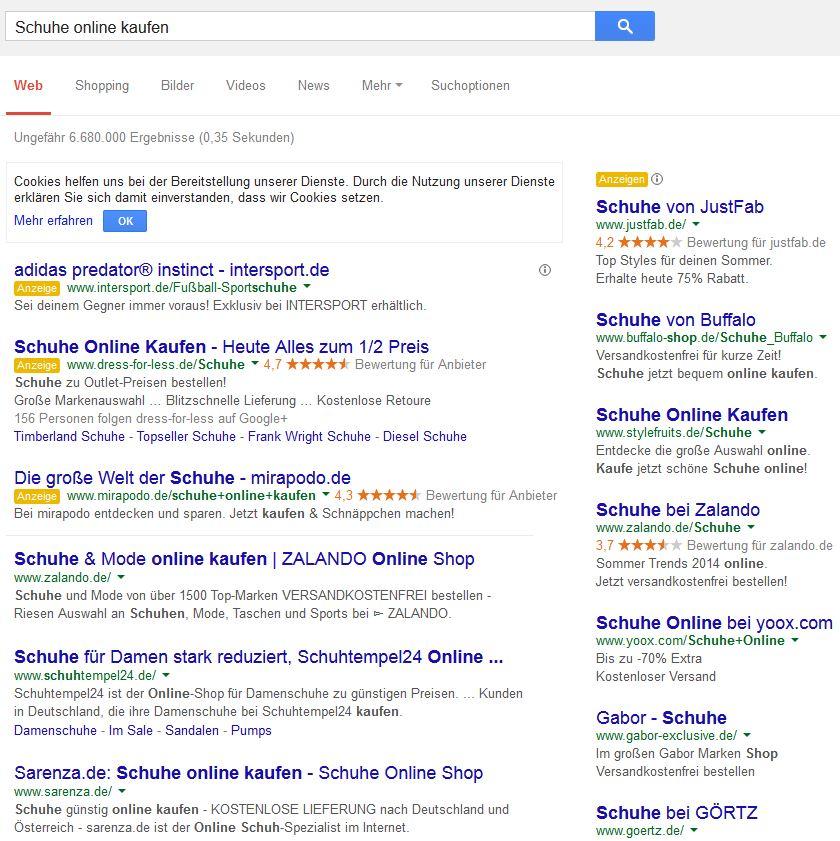Wettbewerber in der Google Suche