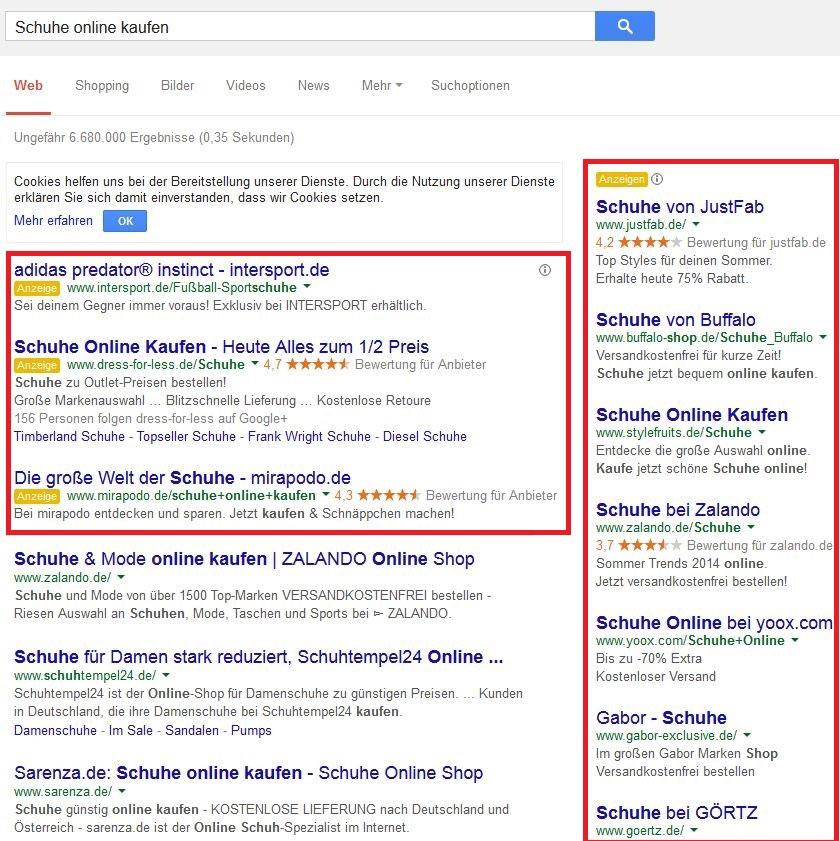 AdWords Textanzeigen auf Google Suchergebnisseite