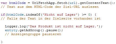 AdWords Script zur Kontrolle der Produktverfügbarkeit