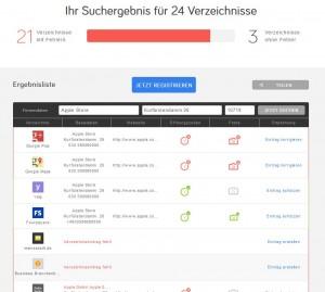 Ergebnisse des Branchenbuchvergleich mit Uberall für den Apple Store Berlin
