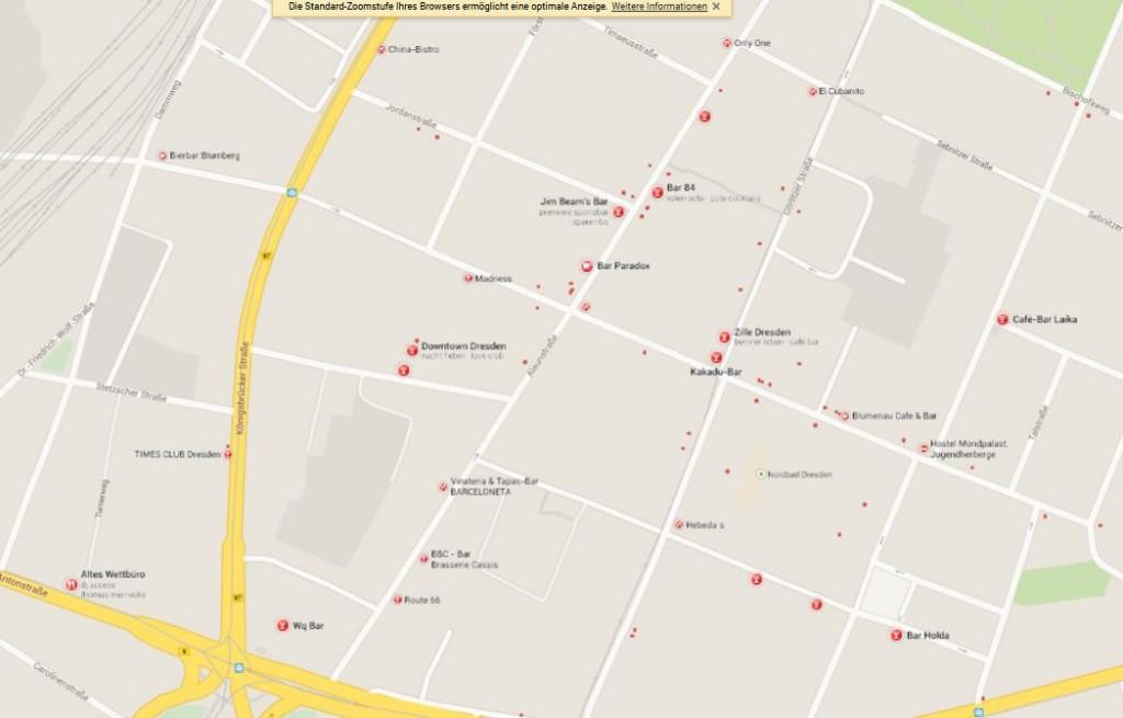 Beispiel für lokale Suchergebnisse bei Google Maps