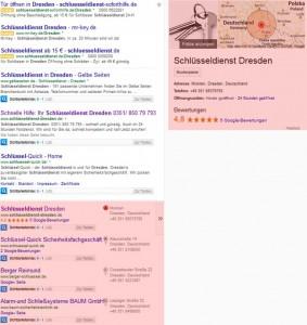 """Beispiel für lokale Suchergebnisse bei Suchanfrage """"Schlüsseldienst Dresden"""""""