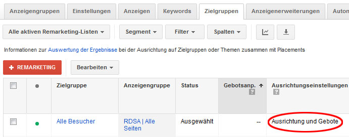 AdWords-Remarketing: RDSA-Ausrichtung