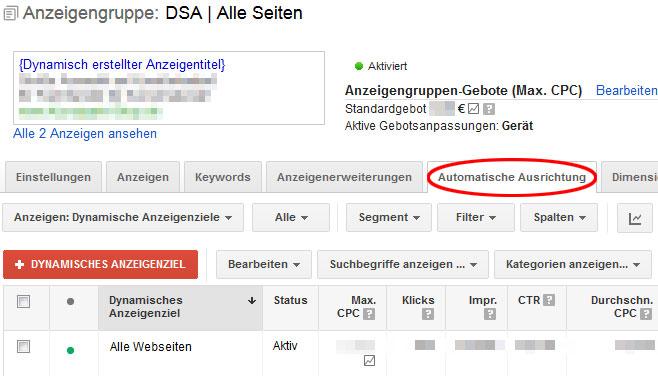 DSA: Dynamische Suchanzeigen in AdWords