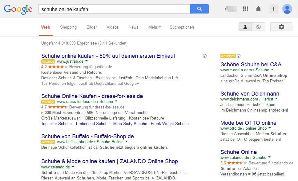 AdWords Anzeigen in der Google Suche