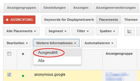Ausschluss von Placements im Google Display-Netzwerk