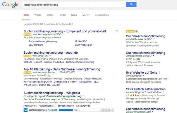 Suchergebnisse Suchmaschinenoptimierung