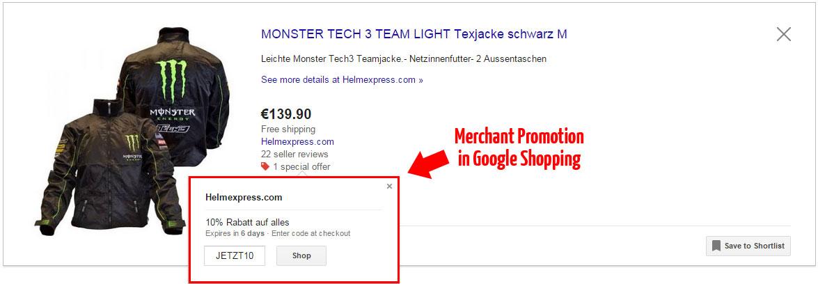 Beispiel für eine Merchant Promotion in Google Shopping