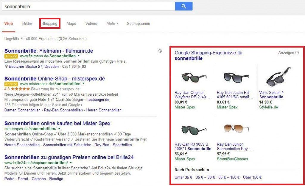 AdWords-Produkt-Anzeigen-Suche