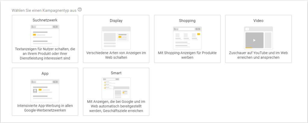Übersicht Kampagnentypen Google Ads