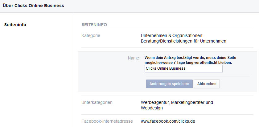 Facebook Seite Clicks Online Business