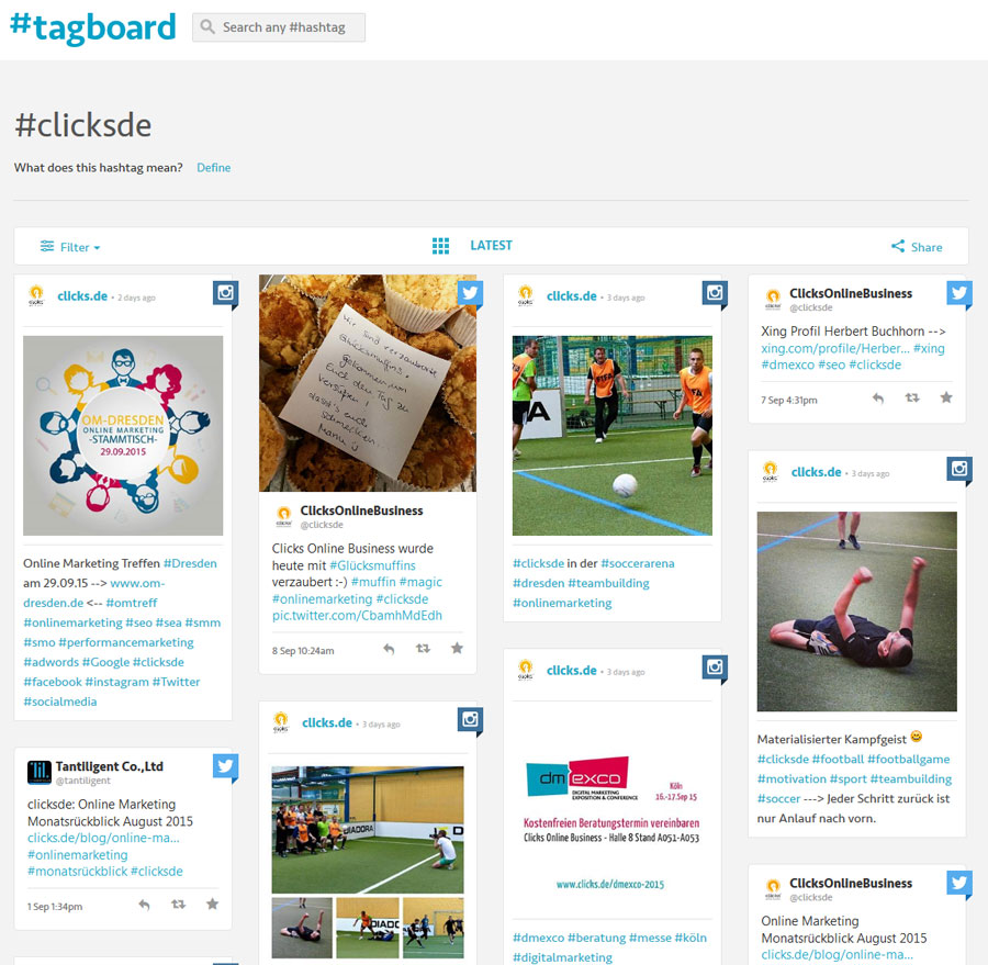 Hashtag clicksde bei tagboard.com