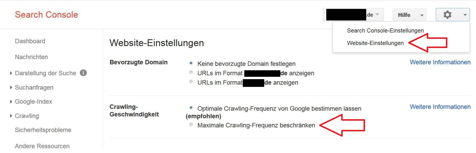 Screenshot Google Search Console: Crawling-Fequenz beschränken