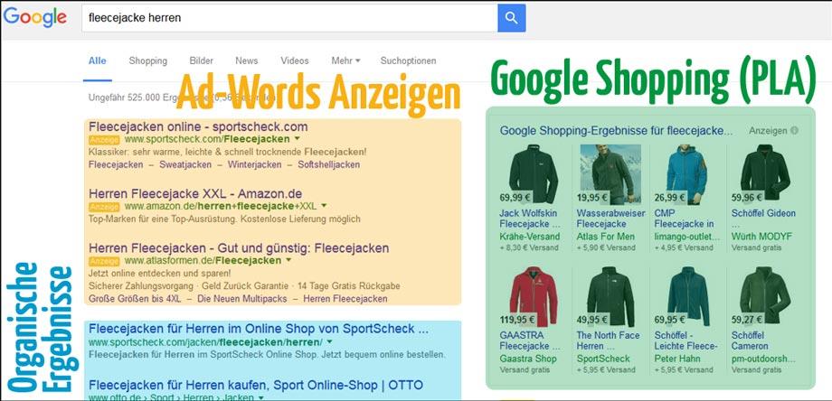 Google Shopping rechts neben organischen Ergebnissen