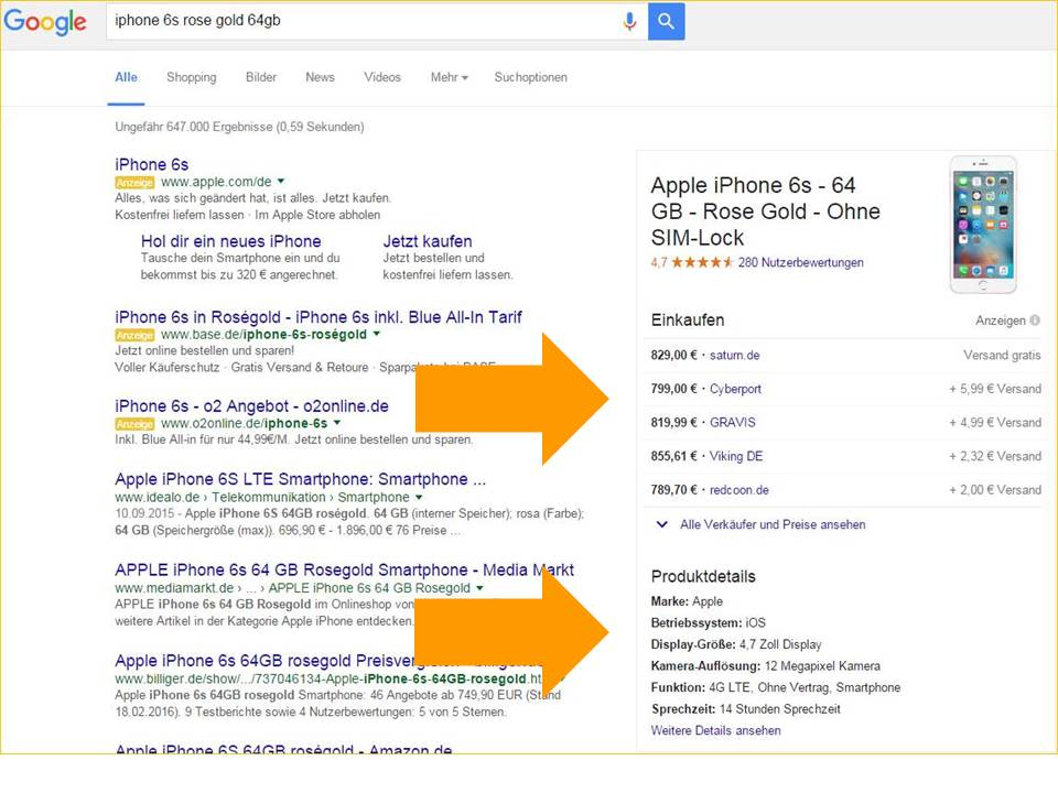 google-serp-preisvergleich-knowledge-box