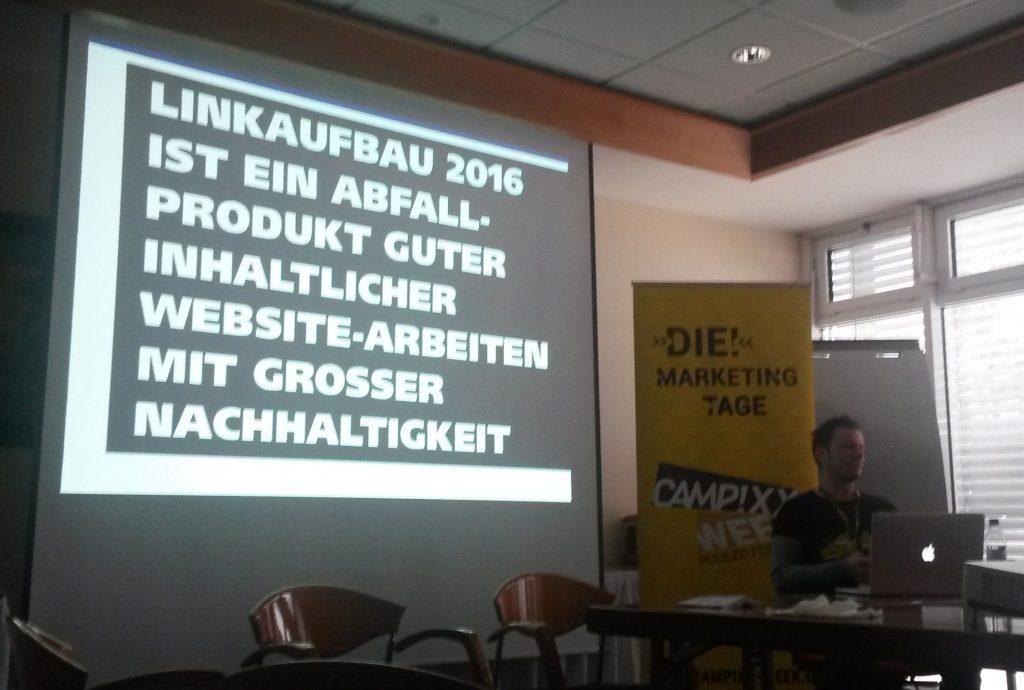 Vortrag zum Linkbuilding auf der SEO Campixx 2016
