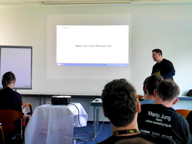 Christoph Szenpanski hielt eine Live-Session, wie man mit Content ein gutes Ranking erzielt