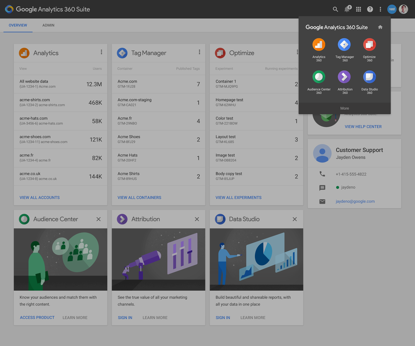 Screenshot der Analytics 360 Suite Produkte