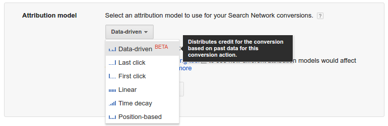 Screenshot der neuen Attributionsmodelle von Google