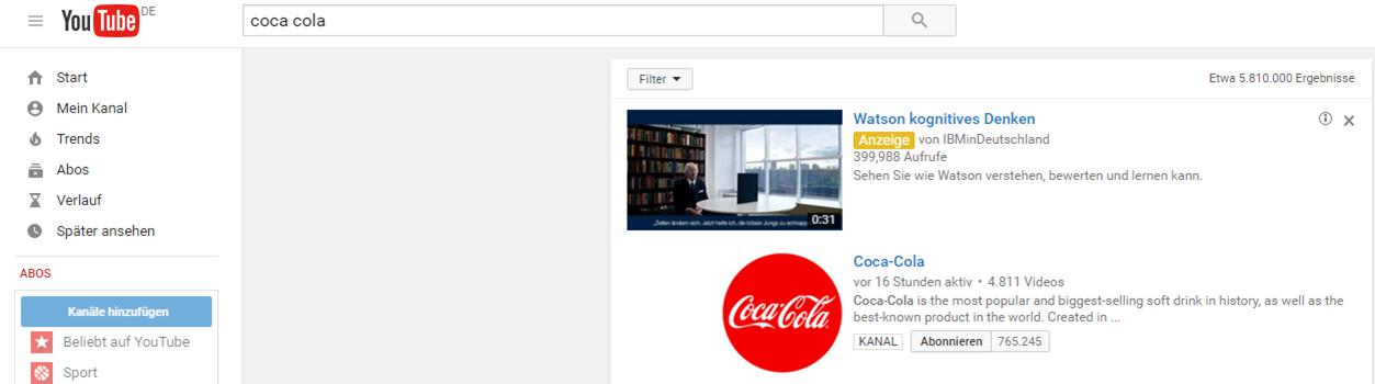 Screenshot eines In-Search Anzeigen Beispieles