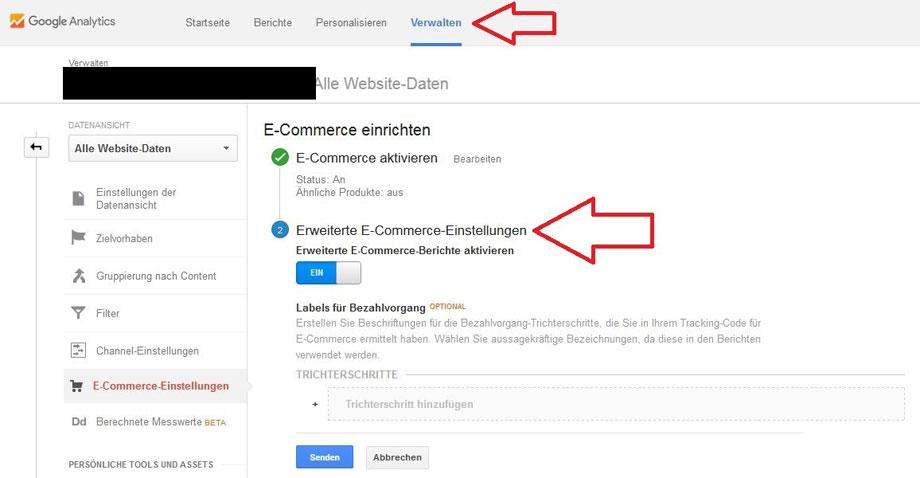 google-analytics erweiterete e-commerce einstellungen