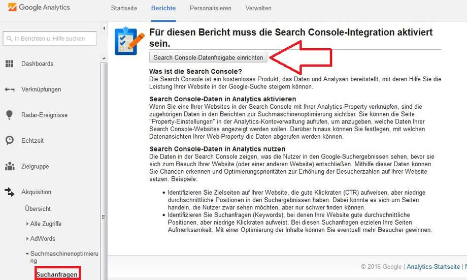 google-analytics mit search console verbinden