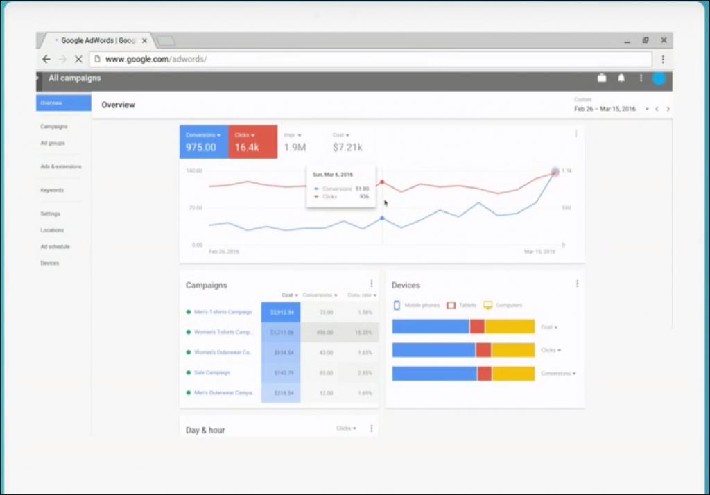 Screenshot vom AdWords Redesign