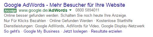 Screenshot vom neuen grünen Anzeigenlabel in AdWords Anzeigen