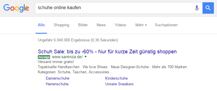 Screenshot Google AdWords/Google Ads Anzeige