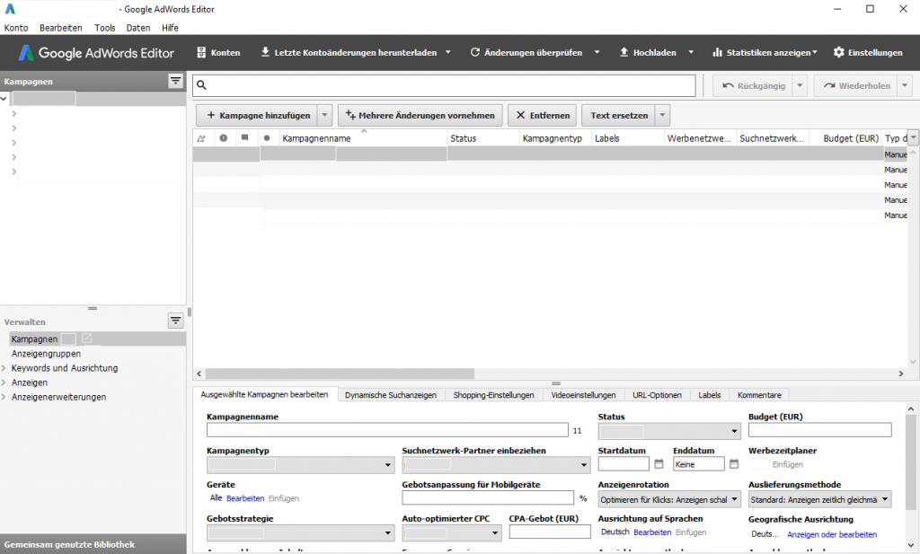 Screenshot Google AdWords/Google Ads Editor
