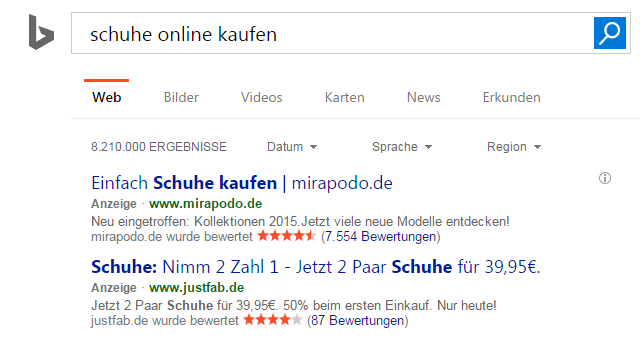 Screenshot Bing Ads Anzeige