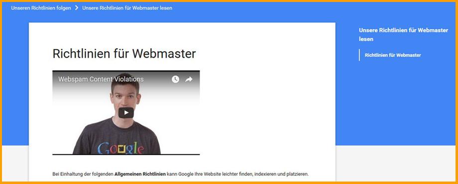 Richtlinien für Webmaster von Google