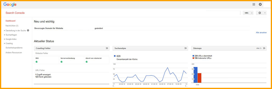 Ansicht in der Google Search Console