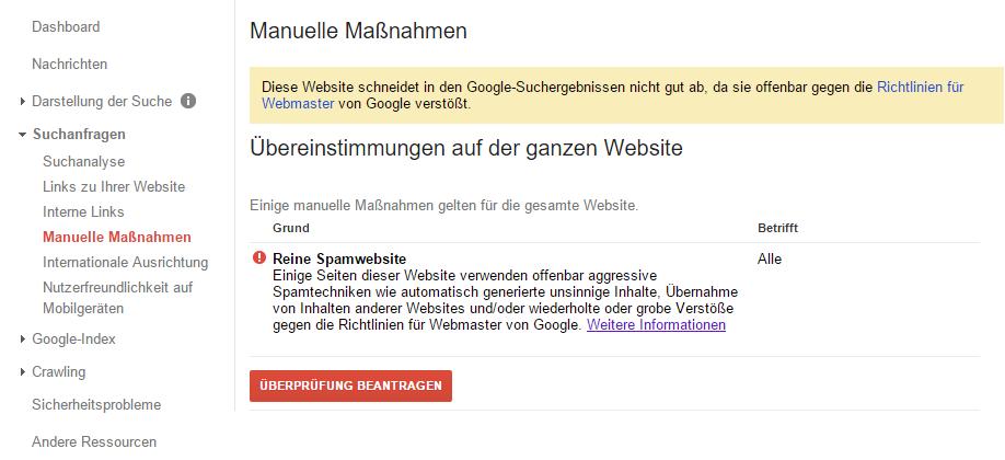 Google Search Console - Manuelle Maßnahme Spamseite