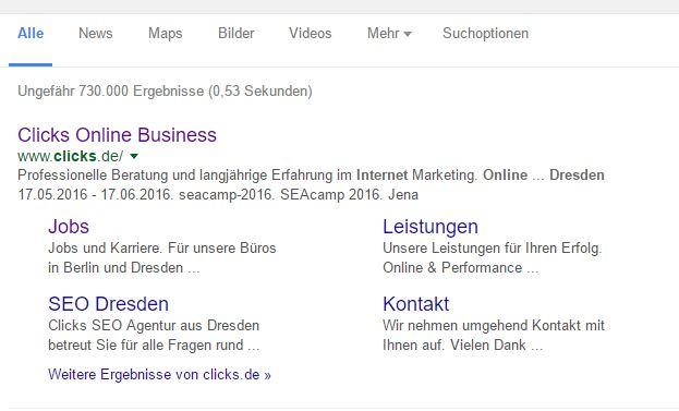 """Sitelinks für Clicks.de beim Suchwort """"clicks online business dresden"""""""