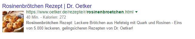 Mit Rich Snippets verschönerter Google Eintrag von Dr Oetker
