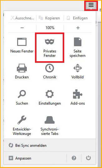 Screenshot: Privates Surfen mit dem Firefox-Browser