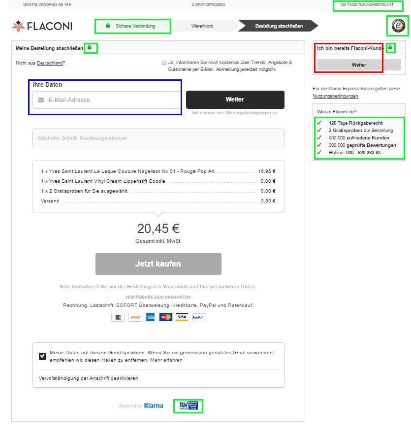 Die Checkout Seite von Flaconi ist nach unseren Kriterien gut gelungen