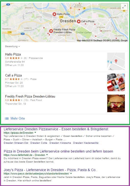 Google Suche mit lokalen und organischen Suchergebnissen