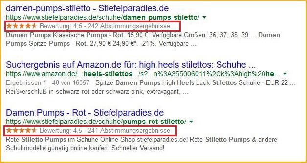 """Screenshot: Rich Snippets in den Suchergebnissen von Google für die Suchanfrage """"Stilettos Damen rot"""" (Bewertungssterne)"""