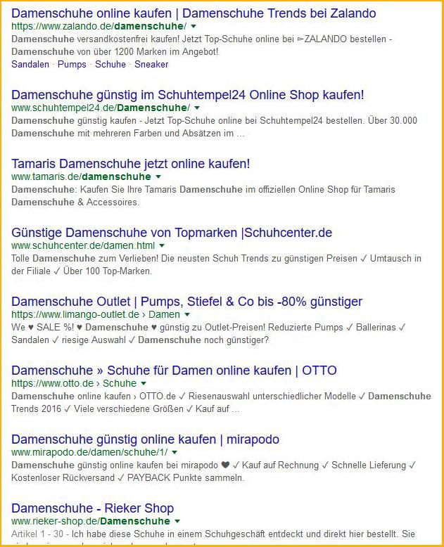 """Screenshot: Organische Suchergebnisse für den Begriff """"Damenschuhe"""""""
