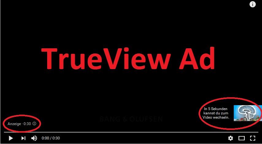 Beispiel einer TrueView-Anzeige auf YouTube