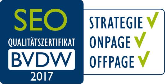 BVDW Zertifikat 2017 für alle SEO-Bereiche