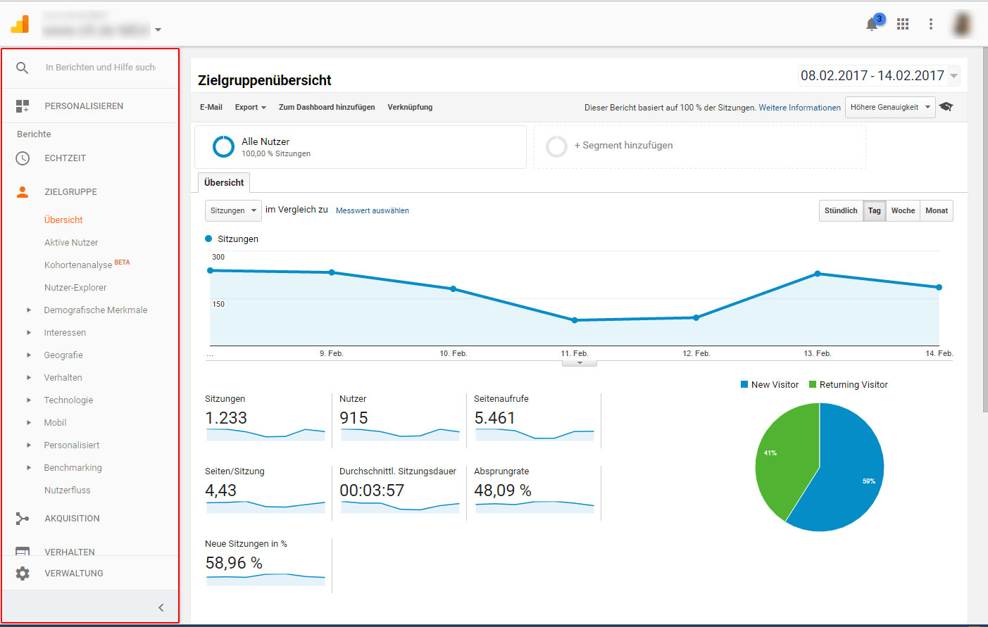 neue Navigation im Google Analytics
