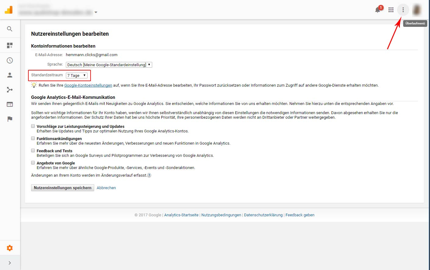 Google Analytics lässt nun eine eigene standardisierte Zeitraumeinstellung möglich