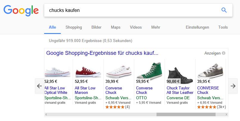 Google Shopping mit Sternenbewertung