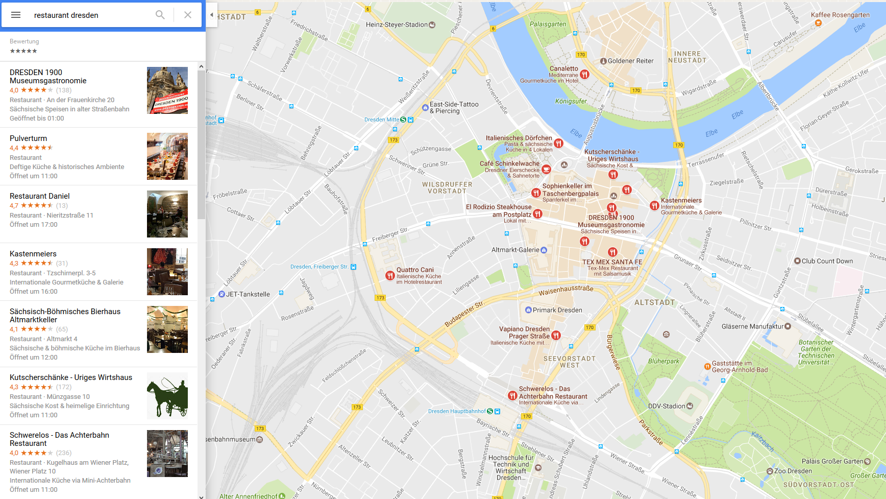 Local Search mit Bewertungen