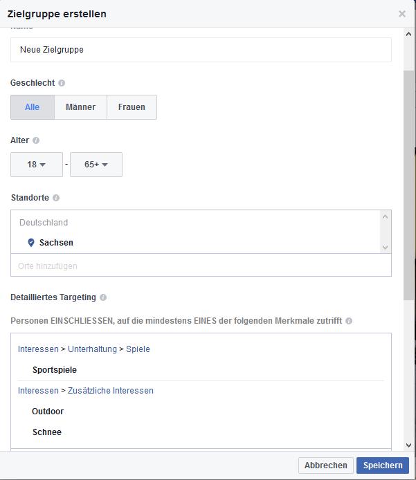 Zielgruppe für Ad im Facebook festlegen